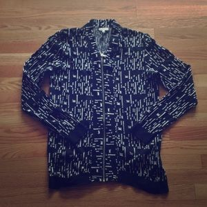 REISS abstract geometric zip cardigan